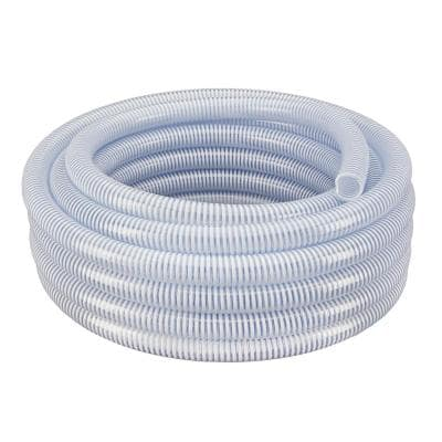 1-1/2 in. Dia x 25 ft. Clear Flexible PVC Suction and Discharge Hose with White Reinforced Helix