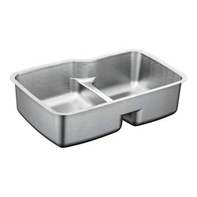 1800 Series Undermount Stainless Steel 32 in. Double Kitchen Basin Sink