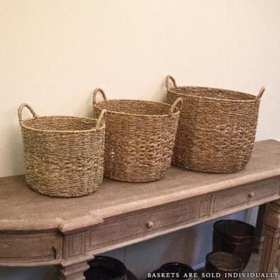 Round Handmade Woven Wicker Seagrass Over Metal Large Basket with Handles