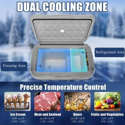 42 QT Portable Car Refrigerator -4°F to 50°F Dual-Zone Car Chest Cooler in Gray