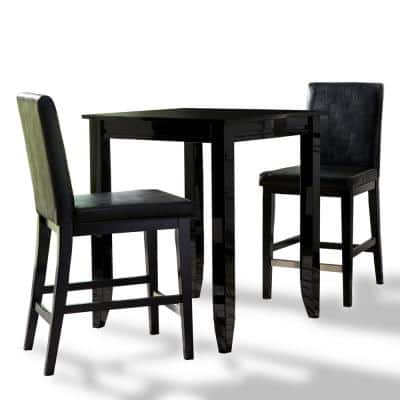 Linear Black 3-Piece High Dining Set