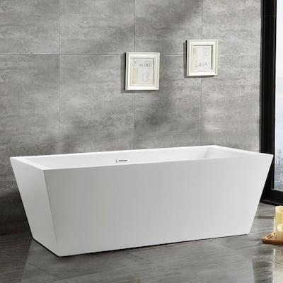 Tarbes 67 in. Acrylic Flatbottom Freestanding Bathtub in White