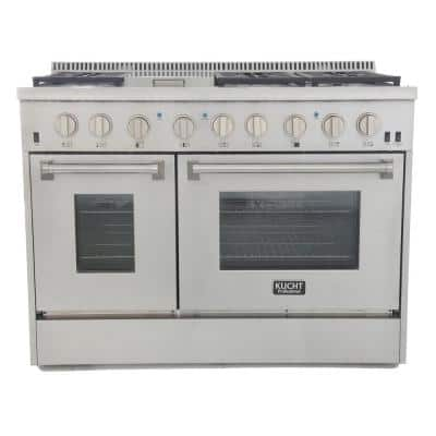 Pro-Style 48 in. 6.7 cu. ft. Dual Fuel Range with Sealed Burners, Griddle and Convection Oven in Stainless Steel