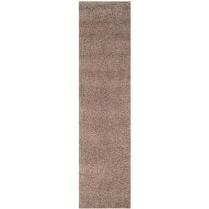 California Shag Taupe 2 ft. x 9 ft. Solid Runner Rug