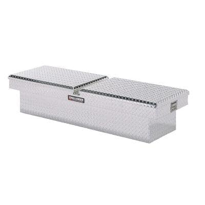 70.25 in Diamond Plate Aluminum Full Size Crossbed Truck Tool Box, Silver
