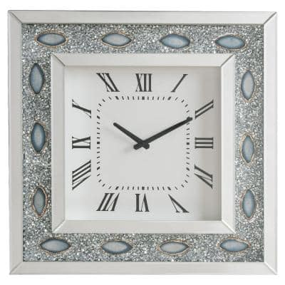 White Wood and Mirror Square Analog Wall Clock