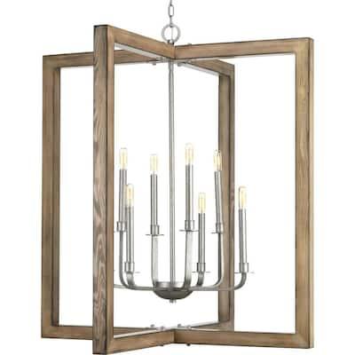 Turnbury Collection 8-Light Galvanized Finish Coastal Chandelier Light