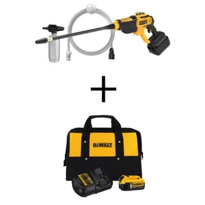 550 PSI, 1.0 GPM Cold Water Cordless Electric Power Cleaner with 20-Volt 5.0Ah Battery, Charger and Tool Bag