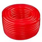 3/8 in. I.D. x 1/2 in. O.D. x 100 ft. Red Translucent Flexible Non-Toxic BPA Free Vinyl Tubing