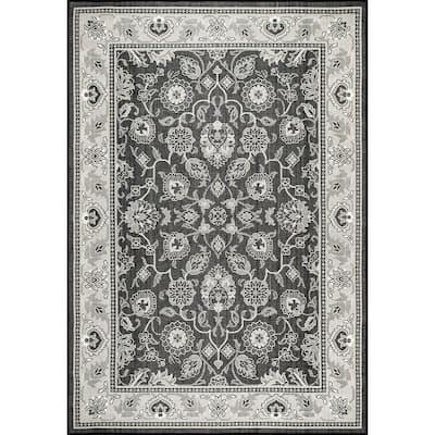 Keyla Transitional Floral Black 9 ft. 6 in. x 12 ft. Indoor/Outdoor Area Rug