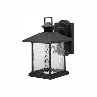 Lumsden Outdoor Black LED Motion Sensor Wall Lantern Sconce