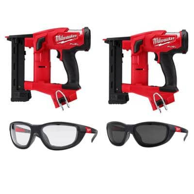 M18 FUEL 18-Volt Lithium-Ion Brushless Cordless 18-Gauge 1/4 in. Narrow Crown Stapler (2-Tool) With Glasses