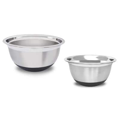 4.5 Qt.,, 4 Qt., 2-Piece Stainless Steel Mixing Bowl Set with Silicone Base