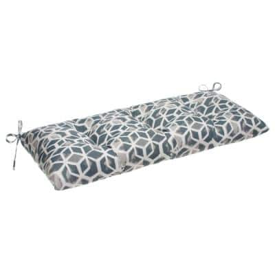 Cubed 44 in. x 18.5 in. x 6 in. Outdoor Tufted Rectangular Loveseat Cushion in Grey