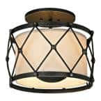 Palisade 3-Light Aged Pewter 14 in. W Semi-Flush Mount with Hardback Linen Shade