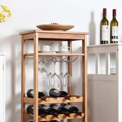 16-Bottle Natural Bamboo Storage Wine Rack with Glass Hanger
