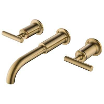 2-Handle Wall Mounted Bathroom Faucet in Brushed Gold