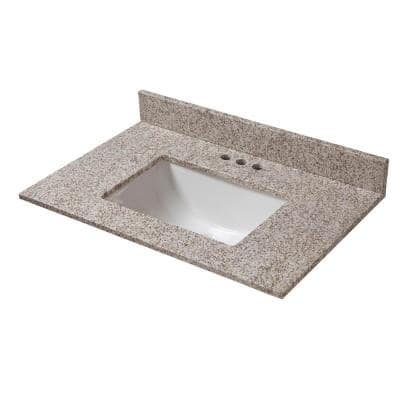 31 in. W x 19 in. D Granite Vanity Top in Golden Hill with White Trough Basin