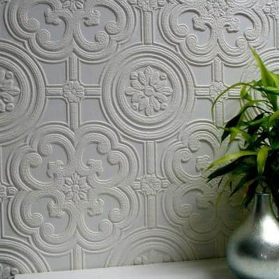 Egon Paintable Textured Vinyl Non-Pasted Wallpaper Roll (Covers 57.5 Sq. Ft.)