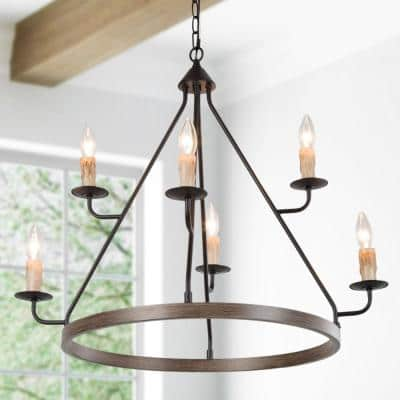 Farmhouse Chandelier 6-Light Modern Rustic Antique Wagon Wheel Black 2-Tier Light with Faux Wood Accent