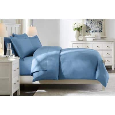 300 Thread Count Wrinkle Resistant American Cotton Sateen 3-Piece King Duvet Cover Set in Washed Denim