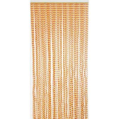 Red Orange Twisted Curtain Door 80 Strings 35.5 in. W x 82.7 in. L Wall Mounted Light Filtering Sheer Curtain 1 Panel