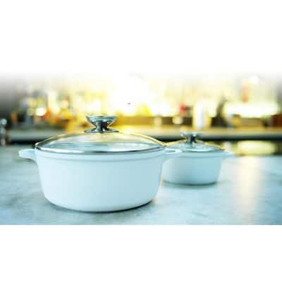 Vario Click Pearl 4.25 qt. Round Cast Aluminum Ceramic Nonstick Dutch Oven in White with Glass Lid