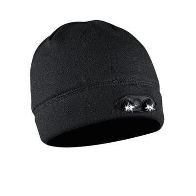 POWERCAP LED Beanie Cap 35/55 Ultra-Bright Hands Free LED Lighted Battery Powered Headlamp Hat Black Fleece