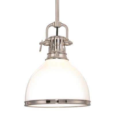 Summit 19 in. 1-Light Polished Nickel Pendant with Opal Glossy Glass Shade