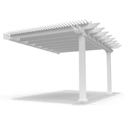 Modern Pergola-Kit Traditional 12 Ft. x 16 Ft. Attached Pergola with 7 In. Square Posts