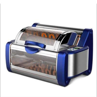 White Digital Countertop Rotisserie & Grill Oven Rotating Kitchen Cooker in Blue