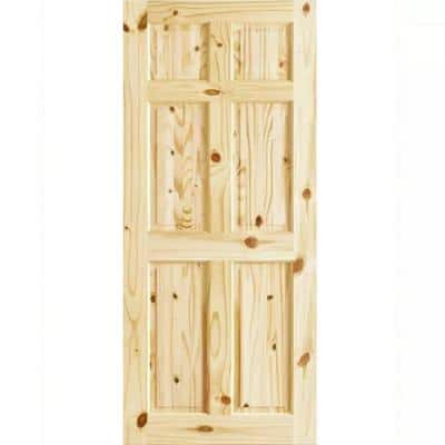 30 in. x 80 in. x 1.375 in. 6-Panel Colonial Double Hip Knotty Wood Interior Door Slab