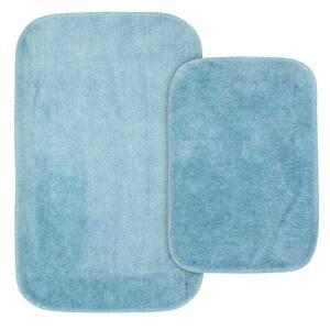 Traditional Basin Blue 2-Piece Washable Bathroom Rug Set