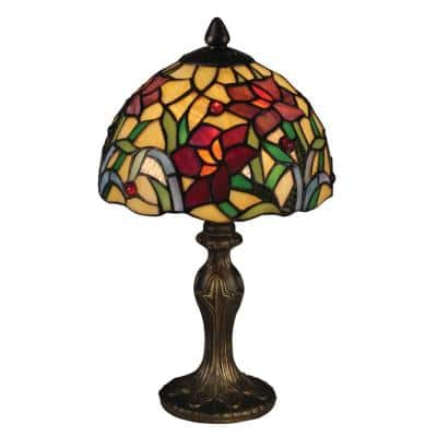 14 in. Antique Brass Accent Lamp with Hand Rolled Art Glass