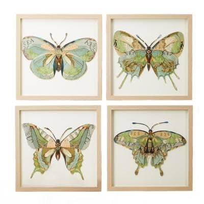 Square Papillion Butterfly Framed Paper Collage Nature Wall Art Includes 4-designs 15 in. x 15 in. (Set of 4)