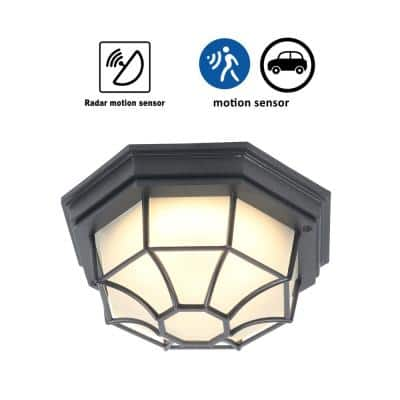 1-Light Matte Black Motion Sensing Dusk to Dawn LED Outdoor Flush Mount Light with Frosted Glass