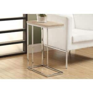 Beige Accent Table with Chrome Metal