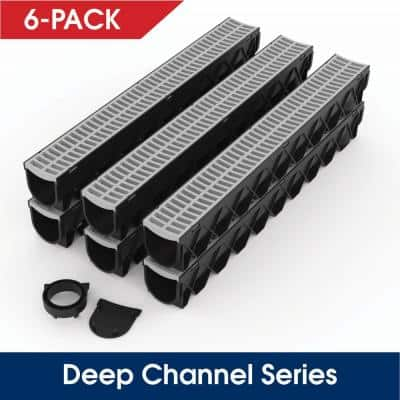 Storm Drain Series 5 in. W x 5.25 in. D x 39.4 in. L Channel Drain Kit with Portland Grey Grate (6-Pack)