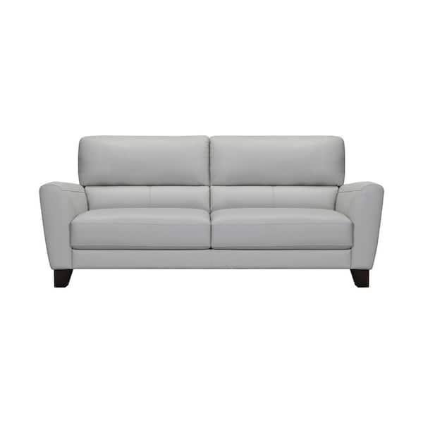 Square Arm Dove Gray Leather Sofa, Square Arm Leather Sofa