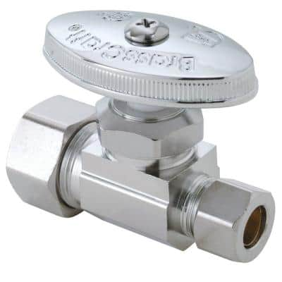 1/2 in. Compression Inlet x 3/8 in. Compression Outlet Brass Multi-Turn Straight Valve