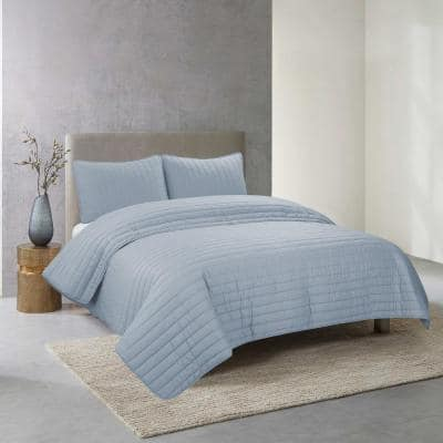 Perfectly Cotton 3-Piece Light Blue Solid Cotton Full/Queen Quilt Set