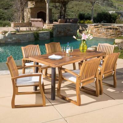 Della Teak Finish 7-Piece Wood Outdoor Dining Set