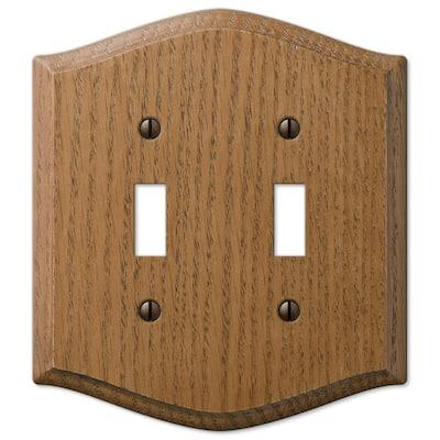 Country 2 Gang Toggle Wood Wall Plate - Medium Oak