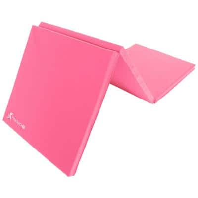 Tri-Fold Folding Thick Exercise Mat Pink 6 ft. x 2 ft. x 1.5 in. Vinyl and Foam Gymnastics Mat (Covers 12 sq. ft.)