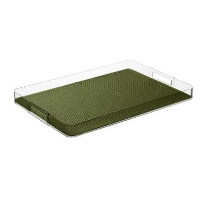 Fishnet Kale Green 19 in.W x 1.5 in.H x 13 in.D Rectangular Lucite Serving Tray