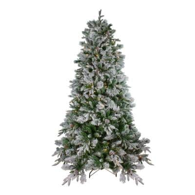 7.5 ft. Pre-Lit LED Flocked Mixed Colorado Pine Artificial Christmas Tree, Clear Lights