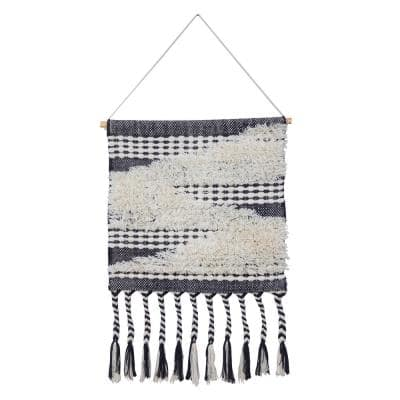 Modern Cloudy Day Navy Blue/White Woven Wall Hanging