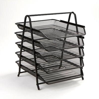 5-Tier Steel Mesh Paper Tray Desk Organizer, Black