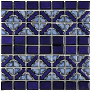 Tower Cobalt Delta 12 in. x 12 in. Porcelain Mosaic Tile (10.63 sq. ft. / Case)