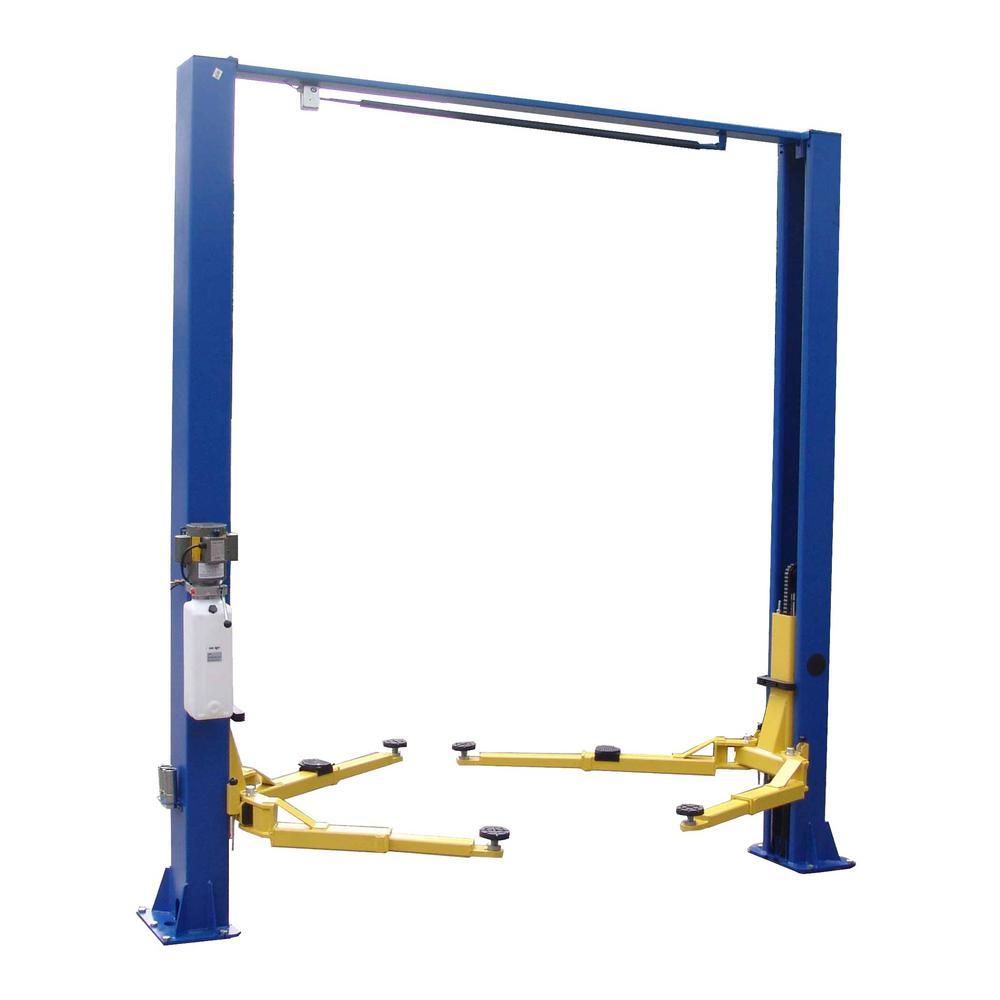 Asymmetric 2-Post Lift Clear Floor 9,000 lbs. Capacity in Blue